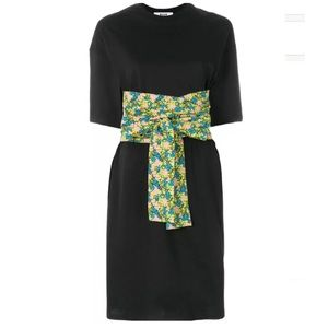 MSGM t-shirt dress black with floral belt small
